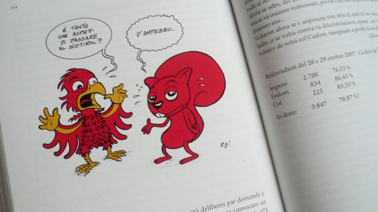 L referendum ladin dl 2007 te na caricatura de Manuel Riz. Pro la Convenzion di 100 y di 33 ne àl do l mote abù deguna lerch o emportanza.